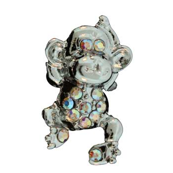 Zinc Alloy Ring Rhodium Monkey Ring W/Faceted Glass Stones Jewelry