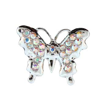 Zinc Alloy Ring Rhodium Butterfly Ring W/Faceted Glass Stones Jewelry