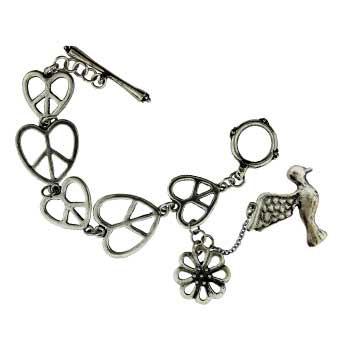 Zinc Alloy Heart Shape Peace Sign Bracelets