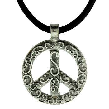 Zinc Alloy Peace Sign Necklaces