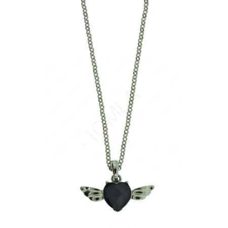 Zinc Alloy Heart with Wings Necklaces