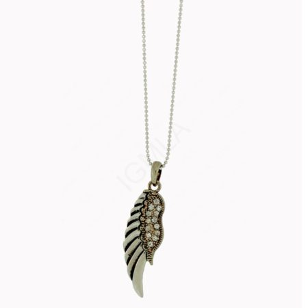 Angel Wing Necklace With White Stones. 4 Pcs Silver