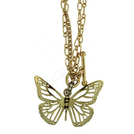 "G/P Butterfly Necklace With Togell Clasp. (Chain 18"" Heart 50 Mm X 65 Mm) Jewelry"