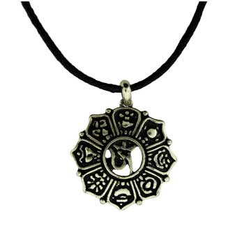 Zinc Alloy Neck. Silver Burnished Om Sign Pend. W/Cord Jewelry