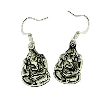 Zinc Alloy Ear. Silver Ganesh Earring Jewelry