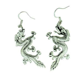 Zinc Alloy Ear. Silver Dragon Earring Jewelry