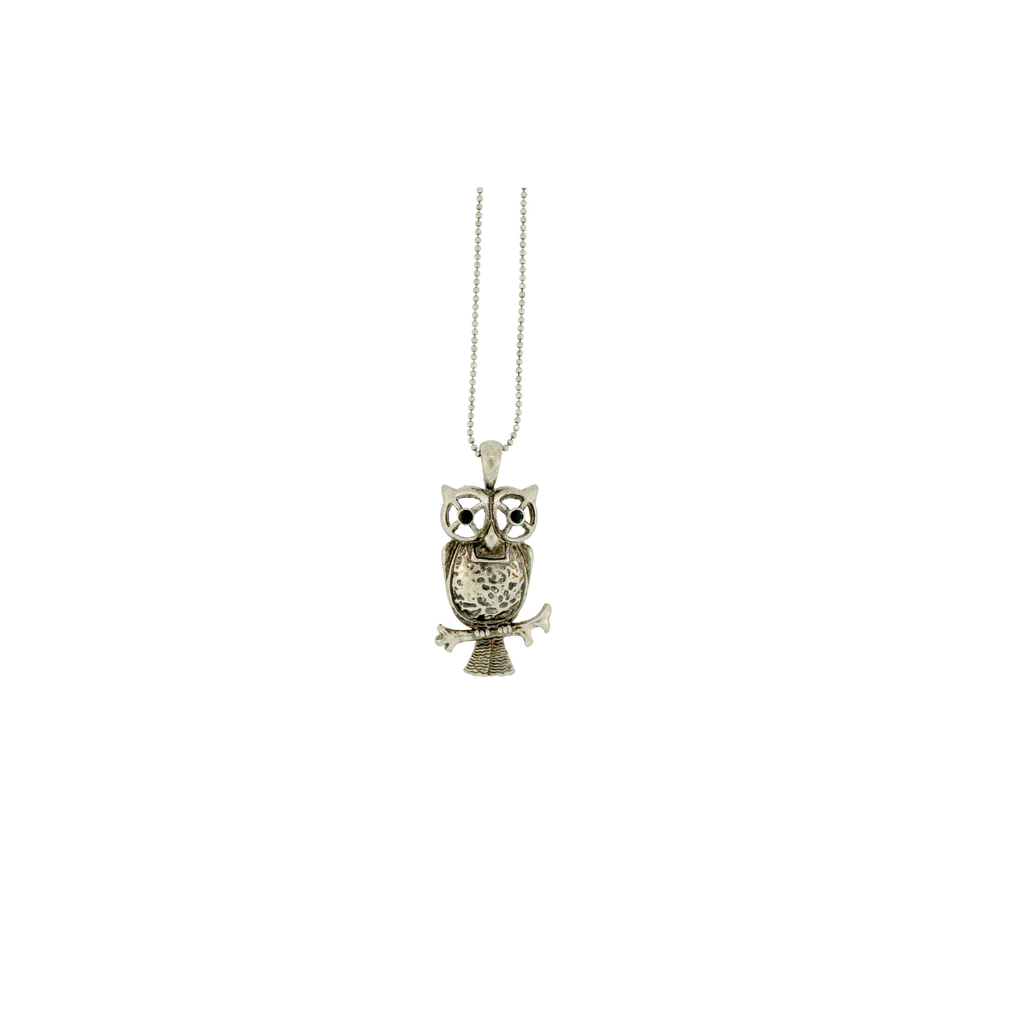 Antique Silver Finish Owl Necklace