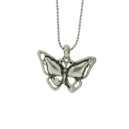"1"" Butterfly Pendant With Rien Stone On 16"" Chain Jewelry"