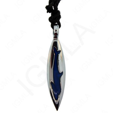 Zinc Neck. Mood Marquise Pend. W/Mood Stone Dolphin On Adj. Cord Jewelry