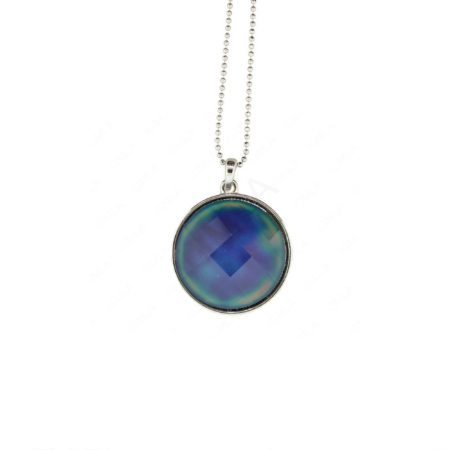 R/P Faceted Round Mood Stone Pendant/Chain Necklace Jewelry