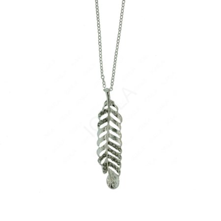 "1.8"" Feather Pendant with white rien stones Jewelry"