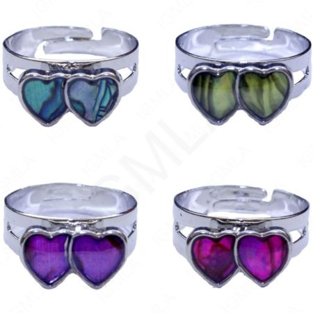 Double Heart Paua Shell Rings Jewelry