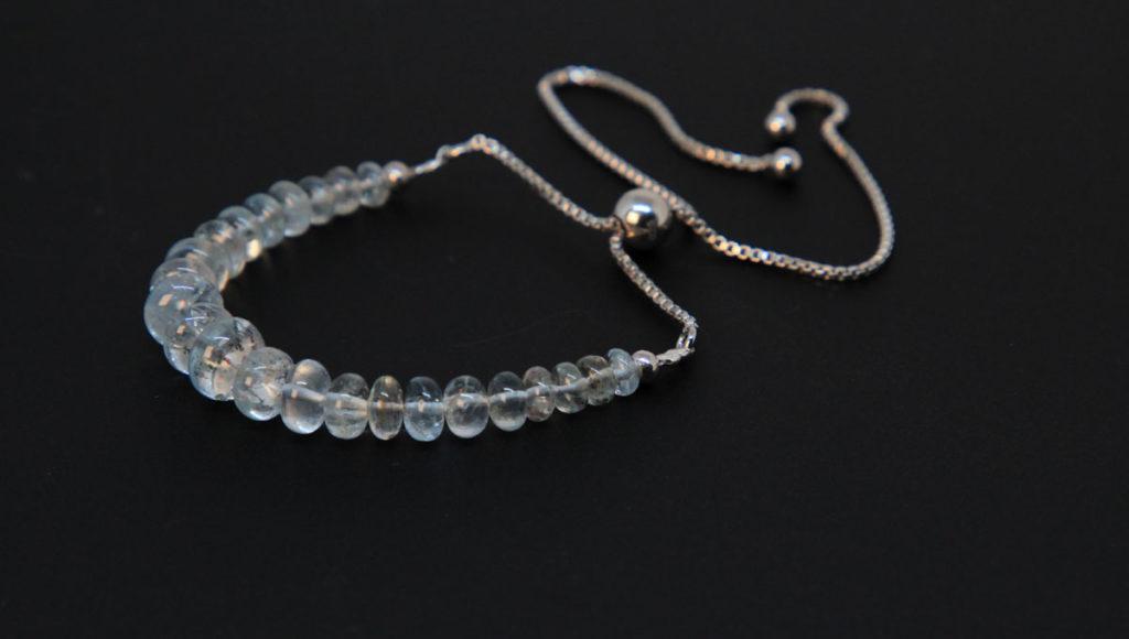 Moss Aqua, Sterling Silver Bolo Bracelet