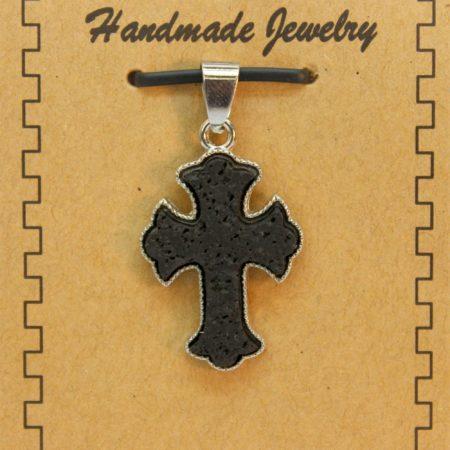20X35mm Fancy Cross Lava Pendant Jewelry