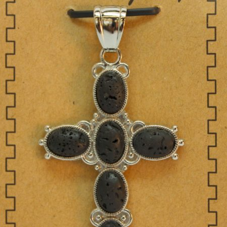 33X53mm 6 Pcs Oval Cross Lava Pendant Jewelry