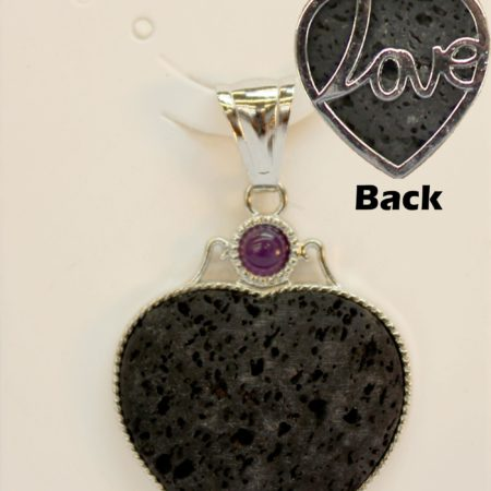 33X44mm Love Heart Lava Pendant Jewelry