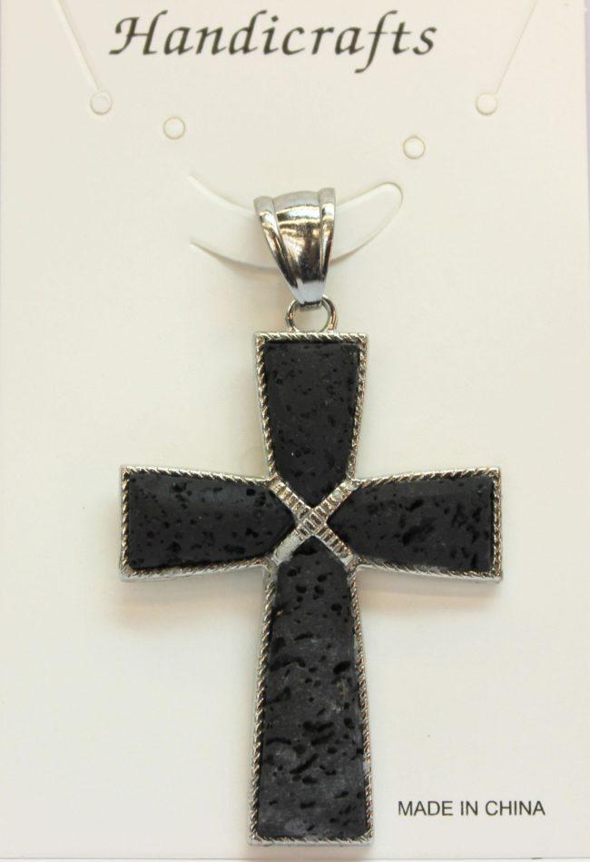 35X51mm 4 Pcs Taper Cross Lava Pendant Jewelry