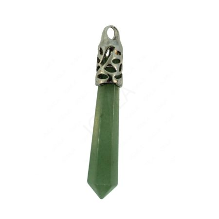62mm Green Aventurine Inlay Cap Taper Point Pendant Jewelry