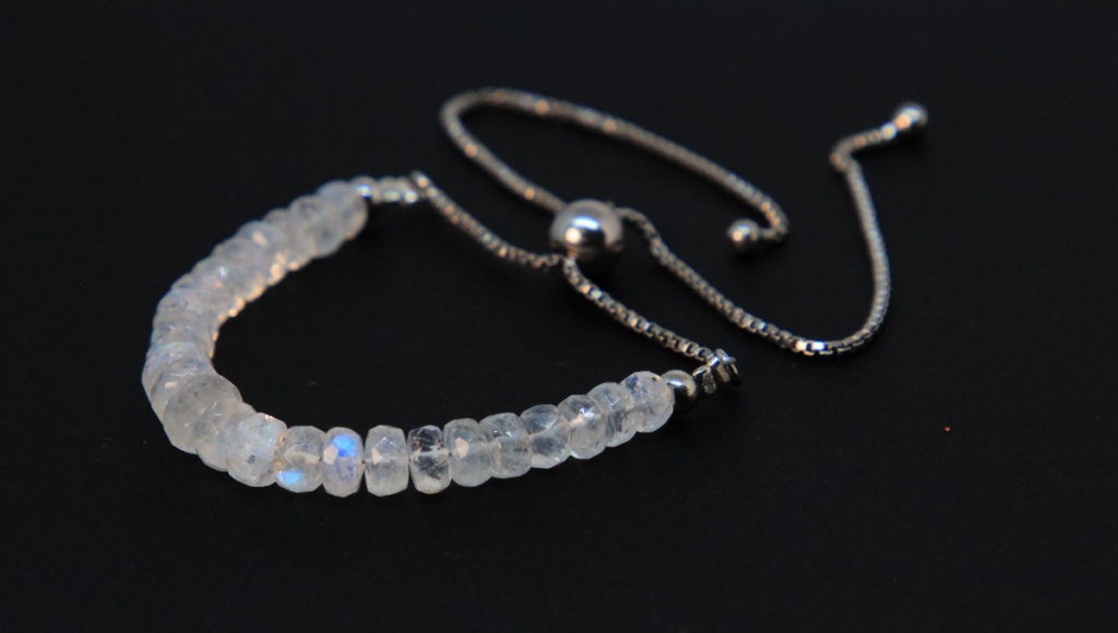 Faceted Rainbow Moonstone, Sterling Silver Bolo Bracelet