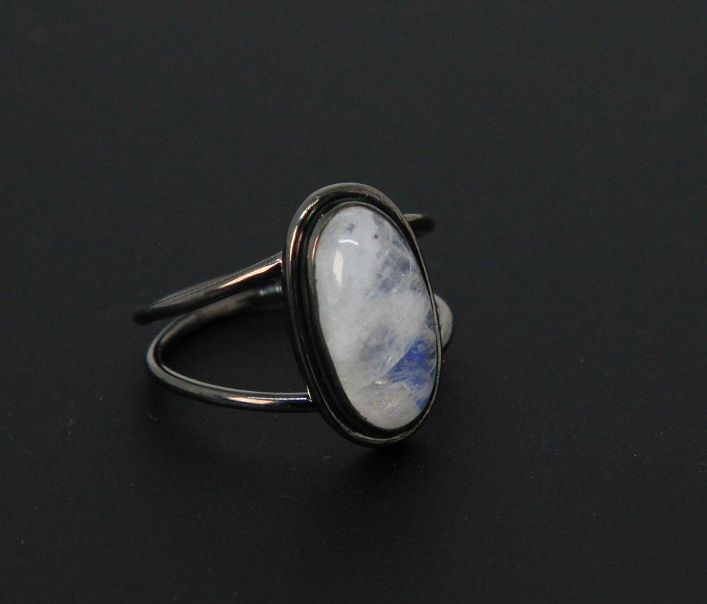 Sterling Silver with Black Rhodium finish,  Plain Rainbow Moonstone Oval Ring