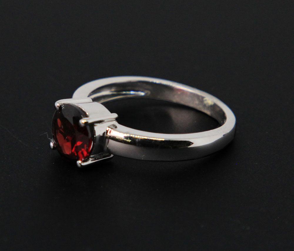 Sterling Silver, Faceted Rhodolite Garnet Ring