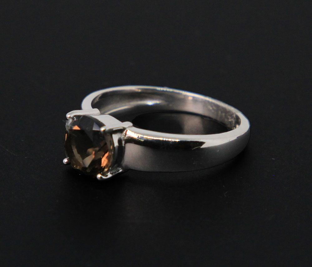 Sterling Silver, Faceted Smoky Quartz Ring