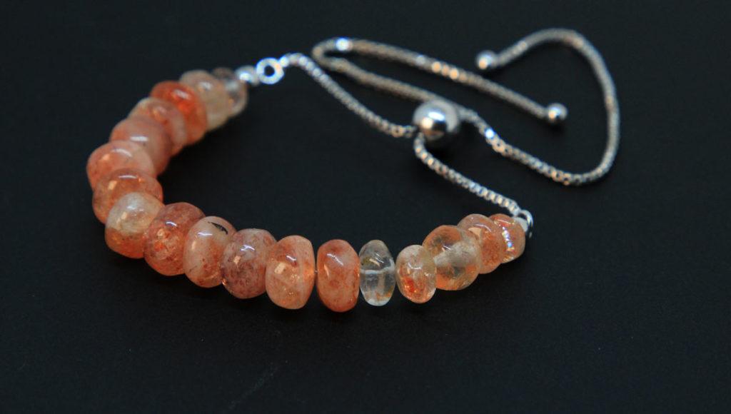 Sunstone, Sterling Silver Bolo Bracelet