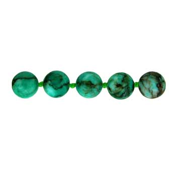"8mm Plain 32"" Knotted Round Dyed Green Turquoise Stone # 030 Beads"