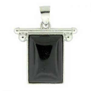 27X28mm Synthetic Black Agate Rectangle Pendants