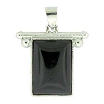 Synthetic Black Agate Rectangle Pendants