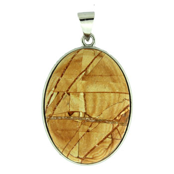 Frosted Wood Jasper Oval Pendants