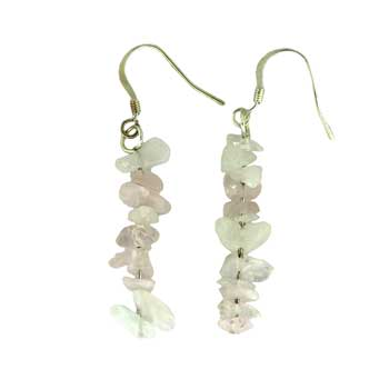 Adjustable Cord/Card Chips Earrings Rose Quartz Jewelry