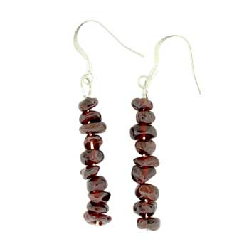 Adjustable Cord/Card Chips Earrings Garnet Jewelry