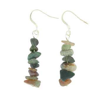 Adjustable Cord/Card Chips Earrings Fancy Jasper Jewelry