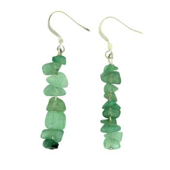 Adjustable Cord/Card Chips Earrings Green Aventurine Jewelry
