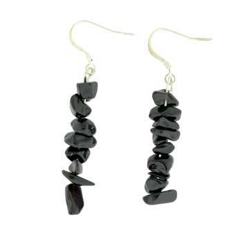 Adjustable Cord/Card Chips Earrings Syn Black Agate Jewelry