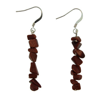 Adjustable Cord/Card Chips Earrings Brown Goldstone Jewelry