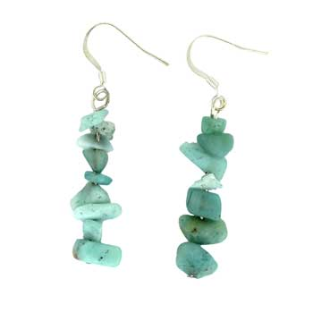 Adjustable Cord/Card Chips Earrings Amazonite Jewelry