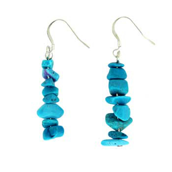 Adjustable Cord/Card Chips Earrings Dyed Turq/Howlite Jewelry