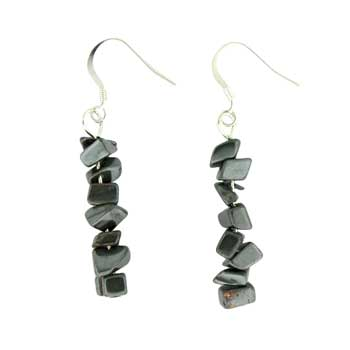 Adjustable Cord/Card Chips Earrings Hematite Jewelry