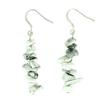 White Howlite Chip Earrings