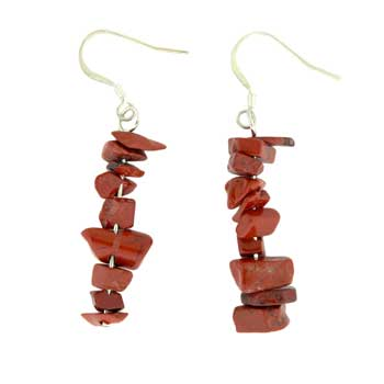 Adjustable Cord/Card Chips Earrings Red Jasper Jewelry