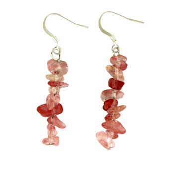 Adjustable Cord/Card Chips Earrings Cherry Quartz Jewelry