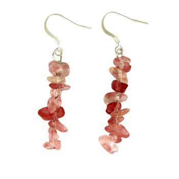 Cherry Quartz Glass Chip Earrings