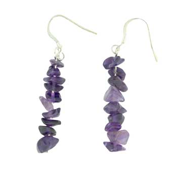 Adjustable Cord/Card Chips Earrings Amethyst Jewelry