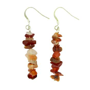 Adjustable Cord/Card Chips Earrings Carnelian Agate Jewelry
