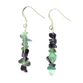 Adjustable Cord/Card Chips Earrings Fluorite Jewelry