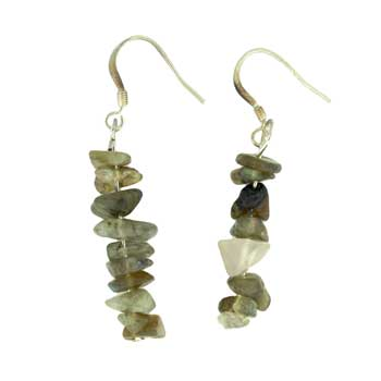 Adjustable Cord/Card Chips Earrings Labradorite Jewelry
