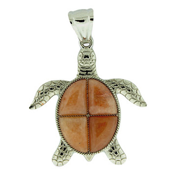 Red Aventurine Swimming Turtle Pendants