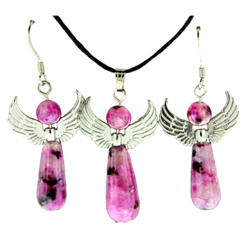 20-30mm Earring/Pendant Angel Freedom-A-4 Dyed Purple Quartz Jewelry